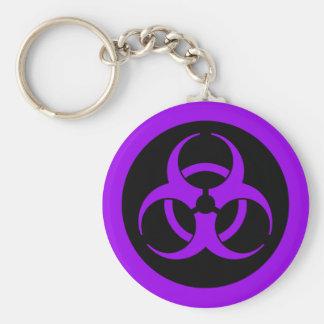 Símbolo púrpura del Biohazard Llavero Redondo Tipo Pin