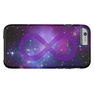 Símbolo púrpura del infinito de la galaxia funda para iPhone 6 tough