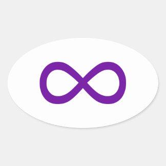 Símbolo púrpura del infinito pegatinas ovales