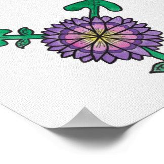 Símbolo púrpura del transexual de la flor poster