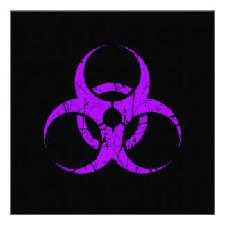 Símbolo púrpura rasguñado del Biohazard en negro Comunicados Personales