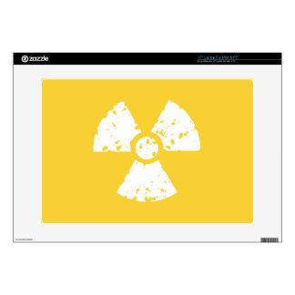 Símbolo radiactivo ambarino amarillo portátil 38,1cm skin