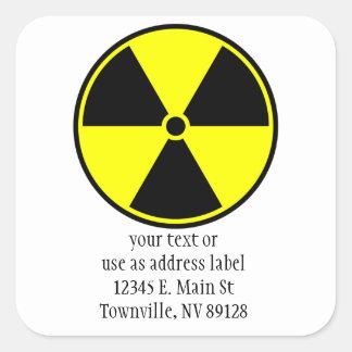 Símbolo radiactivo colcomanias cuadradass