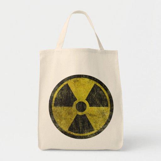 Símbolo radiactivo del Grunge Bolsa Tela Para La Compra