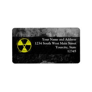 Símbolo radiactivo del Grunge Etiqueta De Dirección