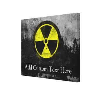 Símbolo radiactivo del Grunge Impresión En Tela