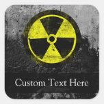 Símbolo radiactivo del Grunge Calcomanía Cuadradase