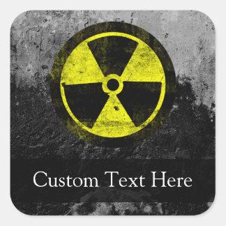 Símbolo radiactivo del Grunge Pegatina Cuadrada