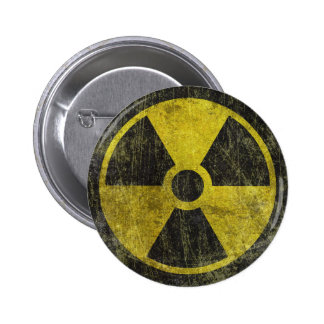 Símbolo radiactivo del Grunge Pin Redondo 5 Cm