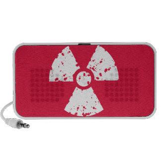 Símbolo radiactivo del rojo carmesí portátil altavoz