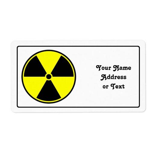 Símbolo radiactivo etiquetas de envío