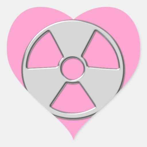 Símbolo radiactivo metálico fresco de la radiación calcomania de corazon personalizadas