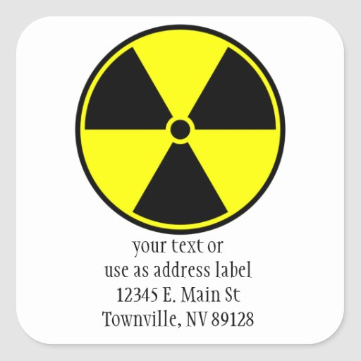 Símbolo radiactivo pegatina cuadrada