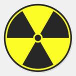 Símbolo radiactivo pegatina redonda