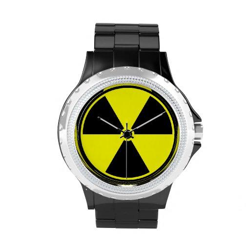 Símbolo radiactivo reloj de mano