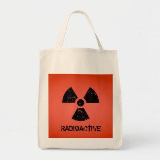 Símbolo radiactivo rojo bolsa tela para la compra