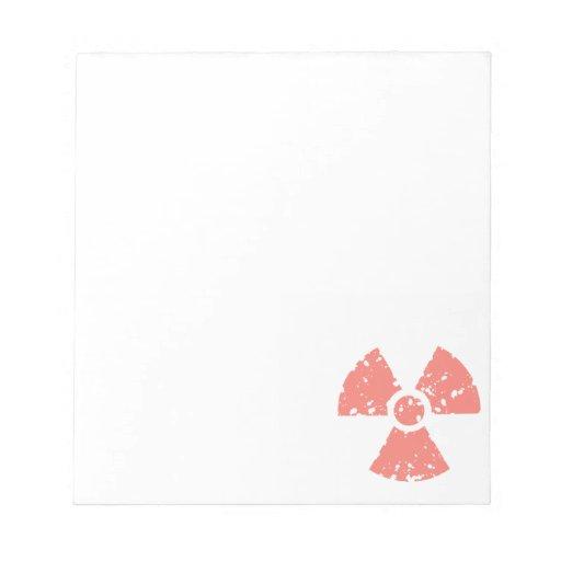 Símbolo radiactivo rosado coralino blocs de papel