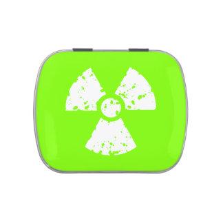 Símbolo radiactivo verde chartreuse, de neón frascos de caramelos