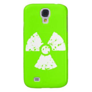 Símbolo radiactivo verde chartreuse, de neón funda para galaxy s4