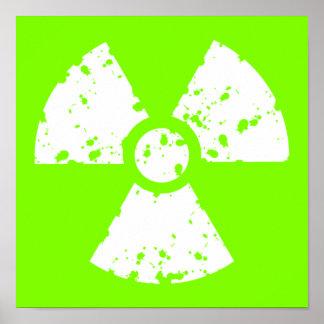 Símbolo radiactivo verde chartreuse, de neón póster