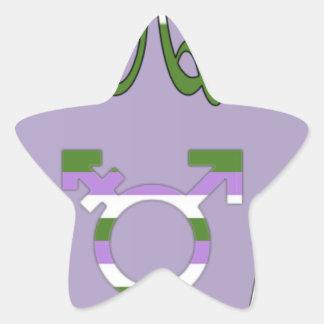 Símbolo raro estupendo del transexual del cabo pegatina en forma de estrella