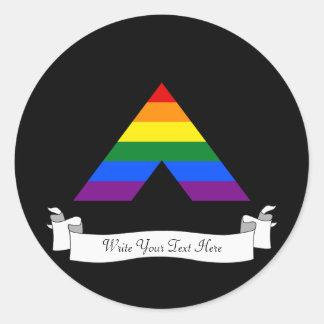 Símbolo recto de la pirámide del aliado de LGBT Pegatina Redonda