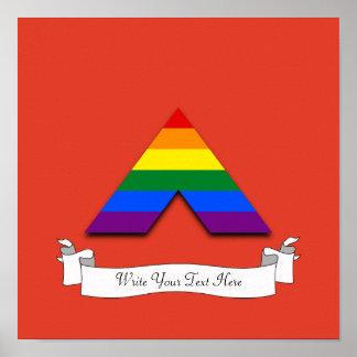 Símbolo recto de la pirámide del aliado de LGBT Póster
