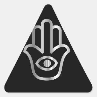 Símbolo religioso de Khamsa de la Mano de Fátima Pegatina De Trianguladas