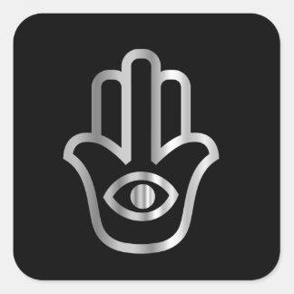 Símbolo religioso de Khamsa de la Mano de Fátima Pegatinas Cuadradas