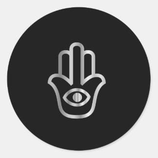 Símbolo religioso de Khamsa de la Mano de Fátima Etiqueta Redonda