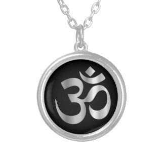 Símbolo religioso del hinduism Pranava Collar Plateado