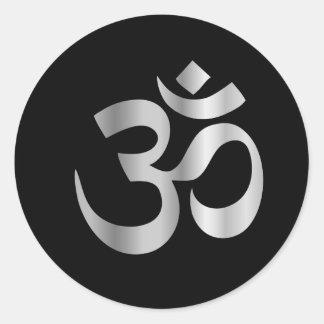 Símbolo religioso del hinduism Pranava Pegatina Redonda