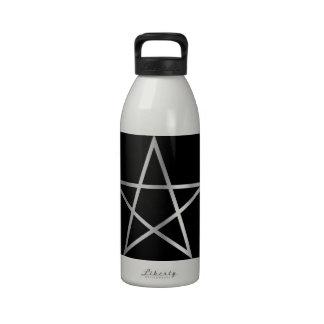 Símbolo religioso del pentagram del satanism botella de agua reutilizable
