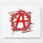 Símbolo rojo de la anarquía alfombrilla de ratón