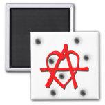 Símbolo rojo de la anarquía imanes de nevera