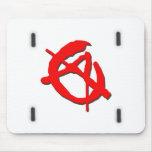 Símbolo rojo de la anarquía tapetes de ratón