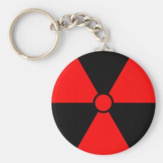 Símbolo rojo de la radiación llavero redondo tipo pin