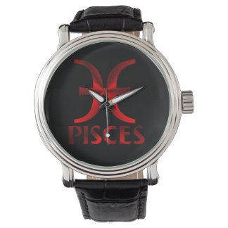 Símbolo rojo de Piscis Relojes De Pulsera