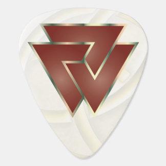 Símbolo rojo de Valknut de los nórdises - imagen Púa De Guitarra