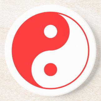 Símbolo rojo de Yin Yang Posavaso Para Bebida