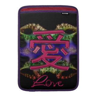 Símbolo rojo del amor del ~ chino de la tarjeta funda para macbook air