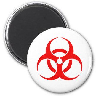 Símbolo rojo del Biohazard Imán Redondo 5 Cm