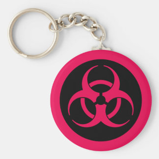 Símbolo rojo del Biohazard Llavero Redondo Tipo Pin