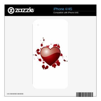 Símbolo rojo del corazón del amor iPhone 4 calcomanía