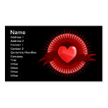 Símbolo rojo del corazón tarjeta de visita