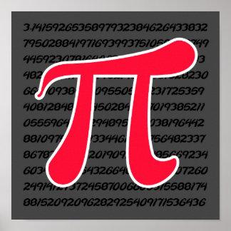 Símbolo rojo del escarlata pi póster