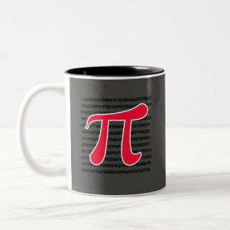 Símbolo rojo del escarlata pi taza de dos tonos