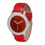 Símbolo rojo del espiritual de Yin Yang Reloj De Mano