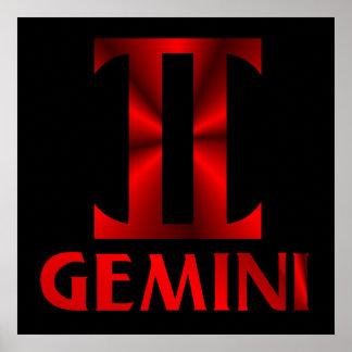 Símbolo rojo del horóscopo de los géminis impresiones
