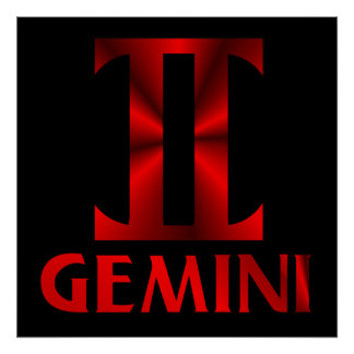 Símbolo rojo del horóscopo de los géminis póster